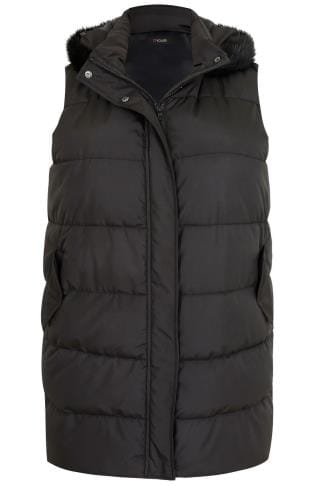 Gilets & Waistcoats Black Longline Padded Gilet With Faux Fur Trim Hood 120039