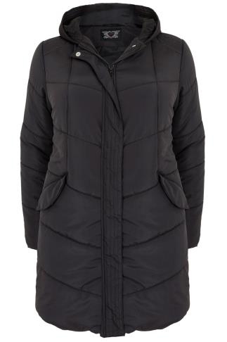 Black Longline Padded Puffer Jacket With Hood