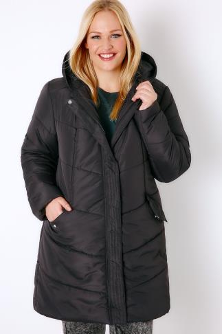 Coats Black Longline Padded Puffer Jacket With Hood 103214