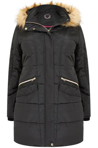 Black Longline Puffer Jacket With Gold Trim Detail