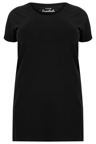 Black Longline T-Shirt With Scooped Neck