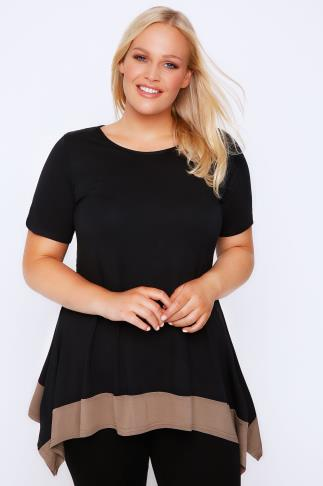 Black Longline Trapeze Top With Light Brown Hem
