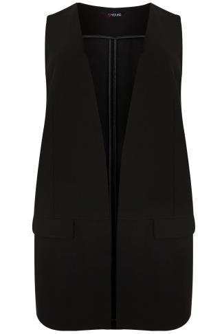 Black Longline Waistcoat With Panel Detail