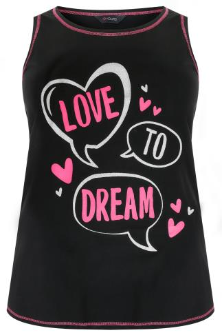 "Black ""Love To Dream"" Print Sleeveless Pyjama Top 148035"