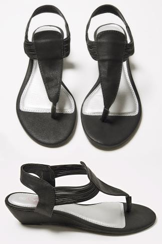Wide Fit Sandals Black Low Wedge Elasticated Toe Post sandal In EEE Fit 056469