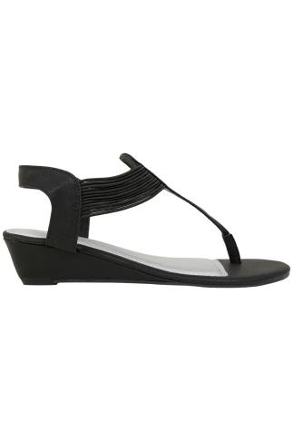 Black Low Wedge Elasticated Toe Post sandal In EEE Fit 056469