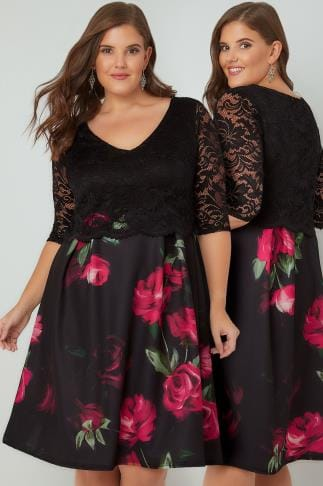 Midi Dresses Black & Magenta Rose Print Lace Overlay Midi Dress 156265