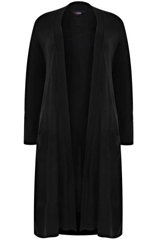 Black Maxi Knit Cardigan With Pockets