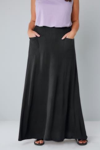 Maxi Skirts Black Maxi Skirt With Pockets 156199
