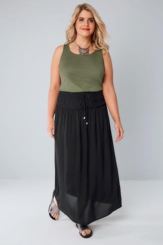 Black Maxi Skirt With Ruched Waistline 160029