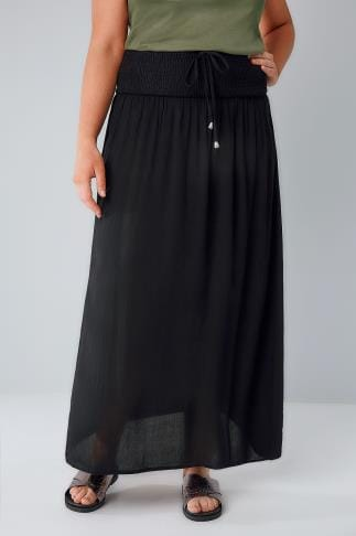 Maxi Skirts Black Maxi Skirt With Ruched Waistline 160029