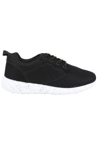 Black Mesh Detail Trainers With Flecked Cushioned Soles In E Fit 102355