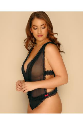 Black Mesh & Lace Body With Strappy Side Detail