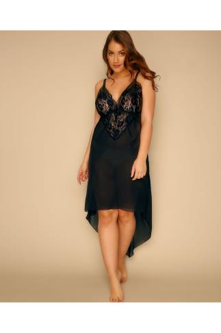 Black Mesh & Lace Chemise With Extreme Dip Hem