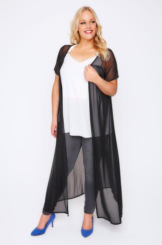 Black Mesh Maxi Duster Kimono With Short Sleeves
