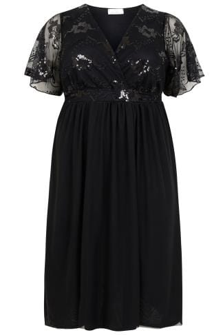 YOURS LONDON Black Mesh Midi Dress With Sequin Embellishment