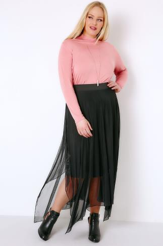 Midi Skirts Black Mesh Midi Skirt With Hanky Hem 156102