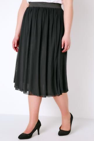 Black Mesh Tuelle Skirt With Elasticated Waist Band