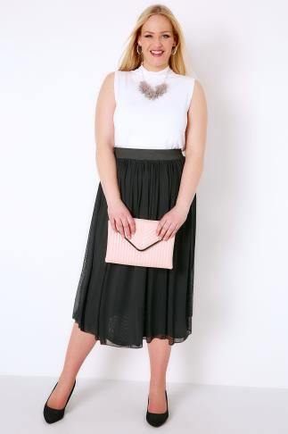Skater Skirts Black Mesh Tulle Skirt With Elasticated Waist Band 156111
