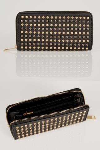 Bags & Purses Black Metallic Studded Purse With Zip Close 152223
