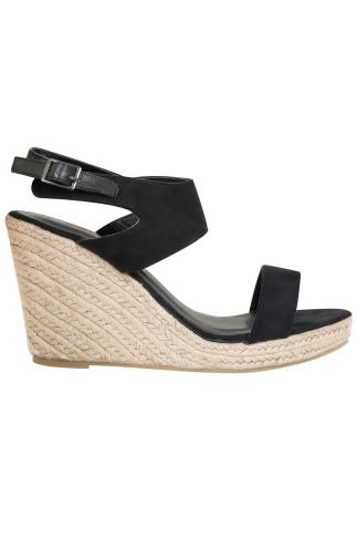 Black Microfibre High Wedge Espadrille Sandal In EEE Fit 056471