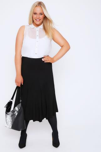 Black Midi Fit & Flare Panelled Skirt With Elasticated Waist 101544