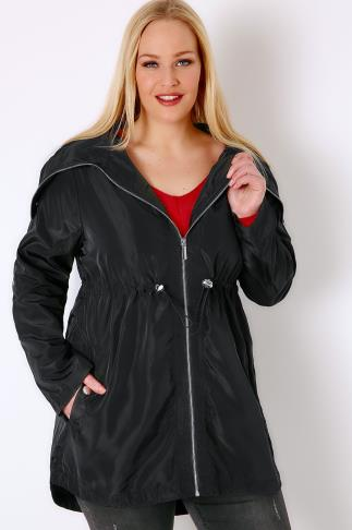 Parka Coats Black Minimalist Parka Jacket With High Zip Up Neck 054790