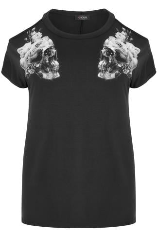 Black Mirror Skull Print Cold Shoulder jersey Top With Stud Detail