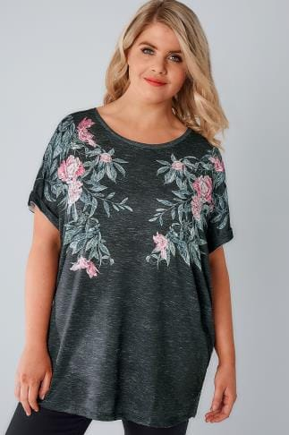 Black Mirrored Floral Print Jersey Top With Grown On Sleeves 170123
