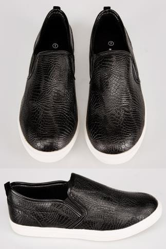 Trainers & Plimsolls  Black Mock Croc Print Slip On Plimsolls 101888