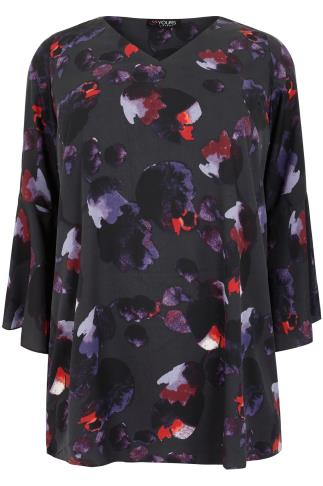 Black & Multi Abstract Print Blouse With Bell Sleeves