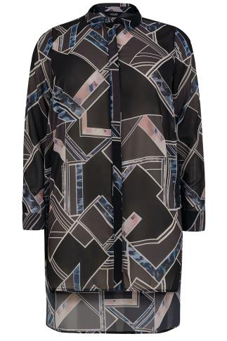 Black & Multi Abstract Shape Print Chiffon Shirt With Step Hem