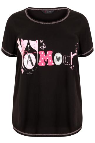 "Black & Multi ""Amour"" Cat Print Pyjama Top"