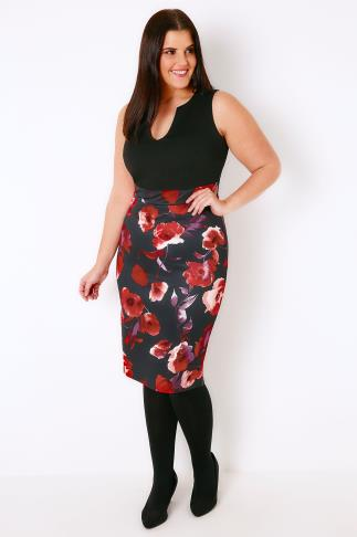 Party Dresses Black & Multi Bodycon Dress With Floral Print Skirt 103298