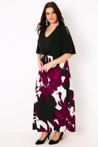 Black & Multi Brush Stroke Print Maxi Dress With Cold Shoulder 102785