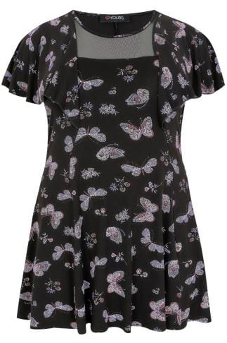 Black & Multi Butterfly Print Peplum Jersey Top With A Mesh Panel