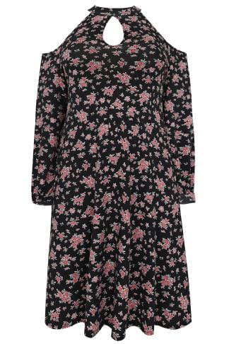 Black & Multi Ditsy Floral Print Cold Shoulder Dress