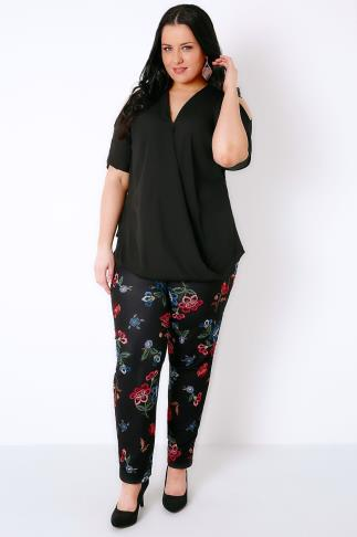 Black & Multi Floral Embroidery Effect Print Trousers 156028