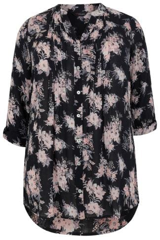 Blouses & Shirts Black & Multi Floral Pintuck Longline Blouse With Beading Detail 130216
