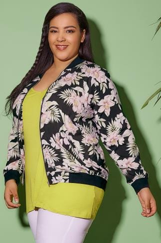 Jackets Black & Multi Floral Jungle Print Bomber Jacket 120011