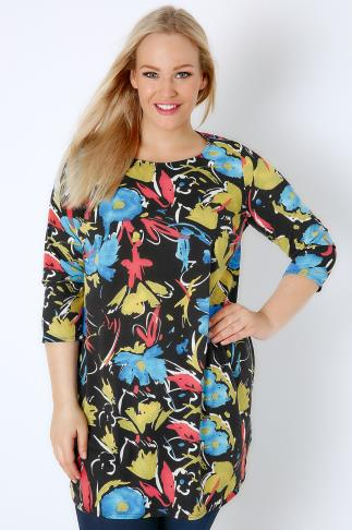 Black & Multi Floral Paint Print Jersey Longline Top