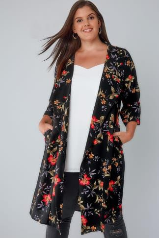 Jackets Black & Multi Floral Panelled Duster Jacket With Waterfall Front & Half Sleeves 134162
