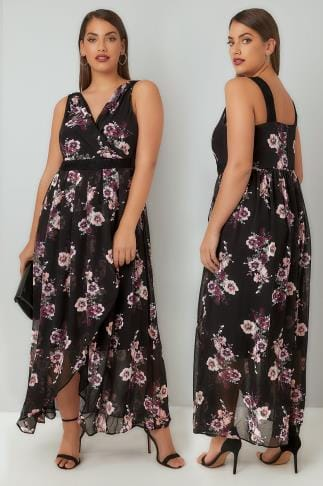 Maxi Dresses Black & Multi Floral Print Chiffon Maxi Dress With Wrap Front & Lace Details 136171
