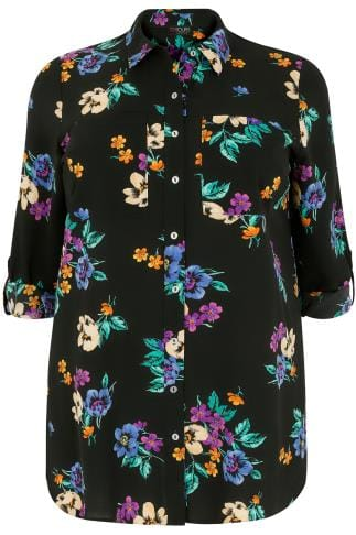 Black & Multi Floral Print Crepe Shirt With Chest Pockets