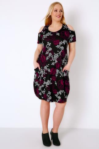Swing & Shift Dresses Black & Multi Floral Print Drape Pocket Dress With Cold Shoulders 103329