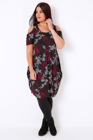 Black & Multi Floral Print Drape Pocket Dress With Cold Shoulders