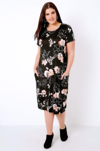 Black & Multi Floral Print Dress With Drop Pockets