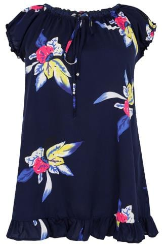 Navy & Multi Floral Print Gypsy Top With Frill Hem & Tie Neck