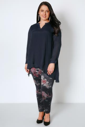 Fashion Black & Multi Floral Print Jersey Jeggings 156095