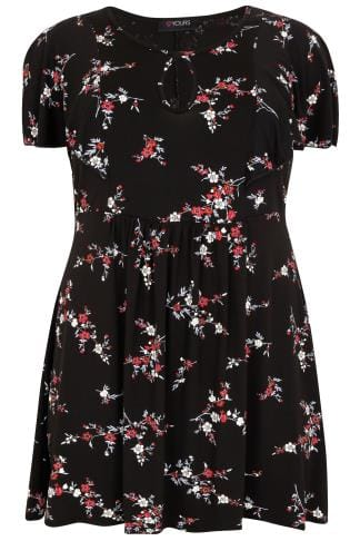Black & Multi Floral Print Longline Top With Frill Sleeves & Waist Tie